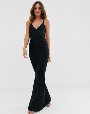 Черное платье-бандаж макси с глубоким вырезом спереди и юбкой годе -Черный Lipsy