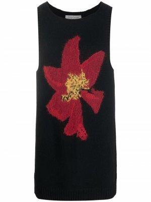 Вязаный жилет с цветочным принтом Yohji Yamamoto. Цвет: черный