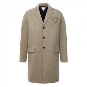 Шерстяное пальто Bottega Veneta. Цвет: бежевый