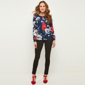 Блузка с круглым вырезом, цветочным рисунком и длинными рукавами JOE BROWNS. Цвет: темно-синий/цветочный рисунок