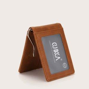 Мужской держатель для карт с текстовым узором SHEIN. Цвет: кофейный коричневый