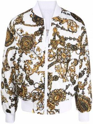 Двусторонний бомбер Versace Jeans Couture. Цвет: белый