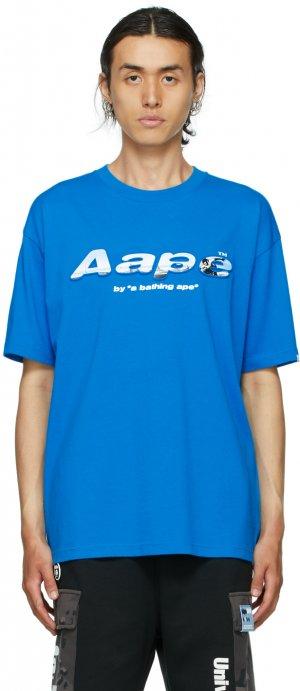 Blue Logo T-Shirt AAPE by A Bathing Ape. Цвет: blx blue
