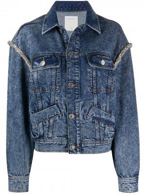 Джинсовая куртка с вышивкой бисером Sandro Paris. Цвет: синий