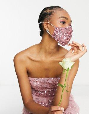 Розовая маска для лица с пайетками -Розовый цвет Maya