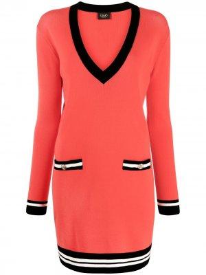 Платье с V-образным вырезом и контрастной отделкой LIU JO. Цвет: красный