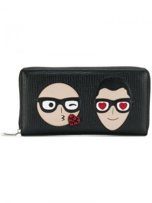 Бумажник с аппликацией дизайнеров Dolce & Gabbana. Цвет: черный
