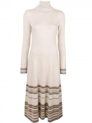 Stripe detail flared knit dress Agnona. Цвет: нейтральные цвета