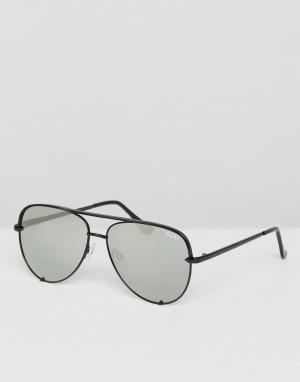 Солнцезащитные очки-авиаторы в черной оправе с серебристыми стеклами x Desi-Черный Quay Australia