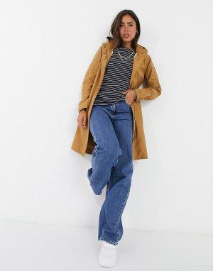Желто-коричневое пальто с капюшоном -Коричневый цвет b.Young
