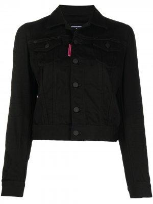 Джинсовая куртка с логотипом Dsquared2. Цвет: черный