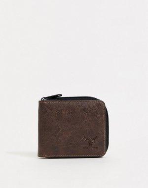 Бумажник на молнии -Коричневый Hyde & Tanner
