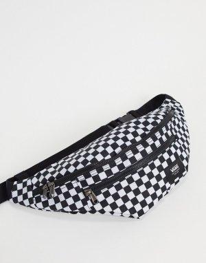 Сумка-кошелек на пояс в черно-белую шахматную клетку Ward Cross-Черный Vans
