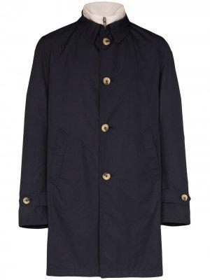 Пальто на пуговицах со съемным жилетом Canali. Цвет: синий