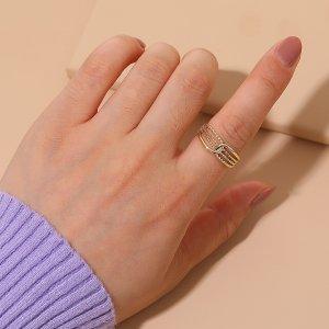 Открытое кольцо минималистичный SHEIN. Цвет: золотистый