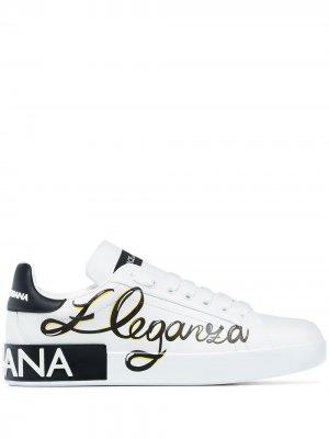 Кроссовки Portofino Eleganza Dolce & Gabbana. Цвет: белый