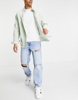 Прямые джинсы голубого выбеленного цвета со рваной отделкой -Голубой ASOS DESIGN