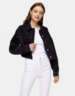 Укороченная джинсовая куртка выбеленного черного цвета -Коричневый цвет Topshop