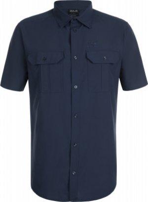 Рубашка с коротким рукавом мужская Jack Wolfskin Kwando River, размер 58. Цвет: синий