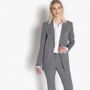 Пиджак костюмный с геометрическим рисунком LA REDOUTE COLLECTIONS. Цвет: наб. рисунок черный/ белый
