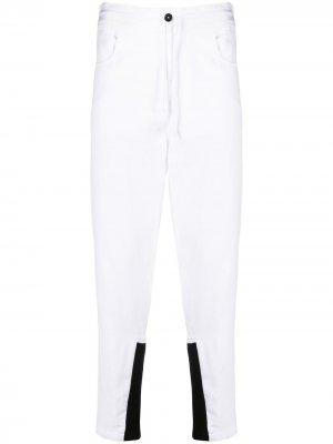 Зауженные брюки с контрастными манжетами Ann Demeulemeester. Цвет: белый