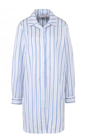 Хлопковая сорочка свободного кроя в полоску Derek Rose. Цвет: голубой