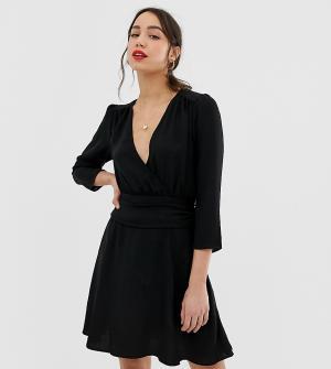 Платье мини с запахом и сборками на юбке ASOS DESIGN Tall-Черный Tall