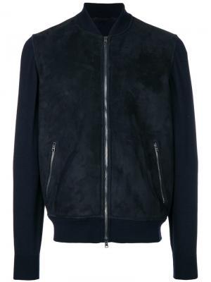 Куртка-бомбер с шерстяными рукавами Herno. Цвет: синий