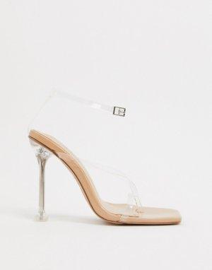 Босоножки на прозрачном каблуке Simmi London-Бежевый Shoes