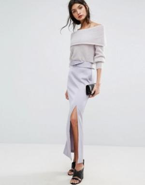 Длинная атласная юбка с разрезом Jaeger. Цвет: фиолетовый