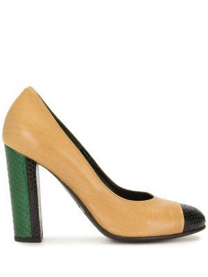 Туфли-лодочки в стиле колор-блок Dries Van Noten Pre-Owned. Цвет: коричневый