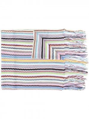 Трикотажный шарф с узором зигзаг Missoni. Цвет: синий