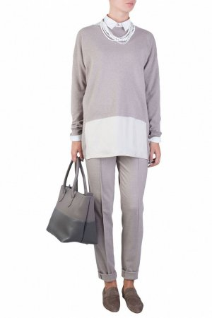 Серый трикотажный пуловер с удлиненной спинкой Fabiana Filippi