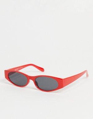 Красные узкие солнцезащитные очки овальной формы -Красный AJ Morgan