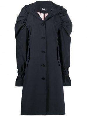 Пальто длины миди с пышными рукавами Karl Lagerfeld. Цвет: черный