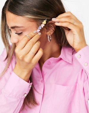 Разноцветная заколка для волос с отделкой сердечками в пастельных тонах -Многоцветный Pieces