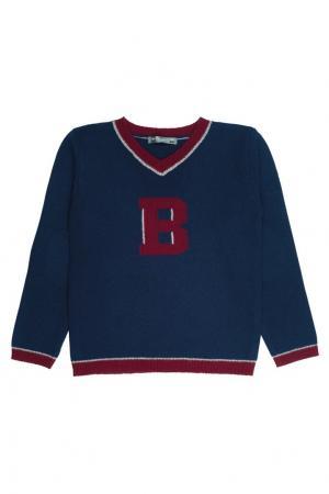 Пуловер синий с отделкой Bonpoint. Цвет: синий