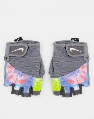 Серые перчатки для фитнеса с рисунком тай-дай Gym Elemental-Серый Nike