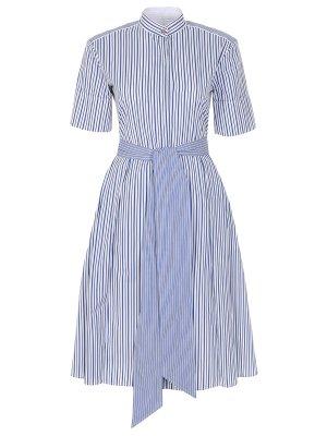 Хлопковое платье-миди с поясом S.FERRAGAMO