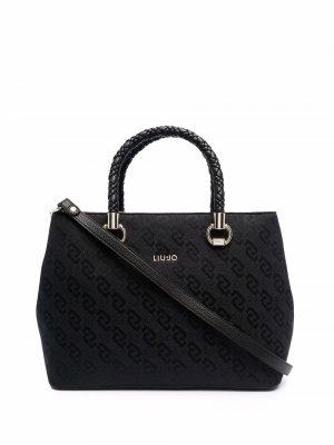 Жаккардовая сумка-тоут LIU JO. Цвет: черный