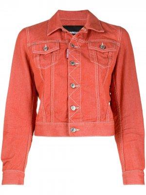 Укороченная джинсовая куртка Dsquared2. Цвет: оранжевый