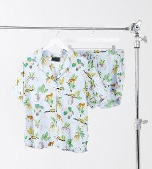 Голубой пижамный комплект из рубашки и шорт 100% модала с принтом в виде цветов гепардов ASOS DESIGN Maternity-Синий Maternity