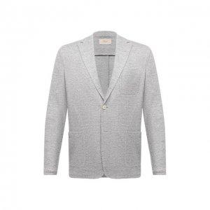 Льняной пиджак Altea. Цвет: серый