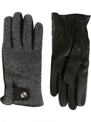 Перчатки с узором в елочку Woolrich. Цвет: чёрный