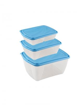 Набор контейнеров для холодильника и микроволновой печи breeze 1.25л+1.75л+2,5л Бытпласт.. Цвет: голубой, белый