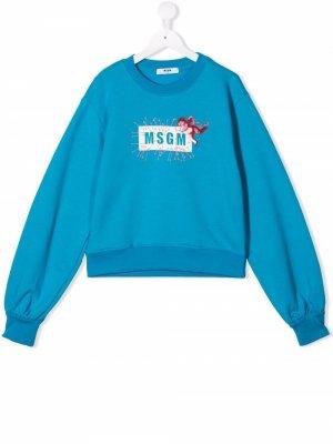 TEEN cupid-motif logo sweatshirt MSGM Kids. Цвет: синий