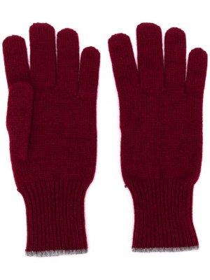 Перчатки с контрастной отделкой Brunello Cucinelli. Цвет: красный