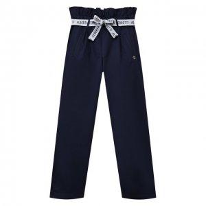 Хлопковые брюки Alberta Ferretti junior. Цвет: синий