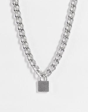 Серебристое ожерелье-чокер с подвеской в форме замка -Серебристый Topshop