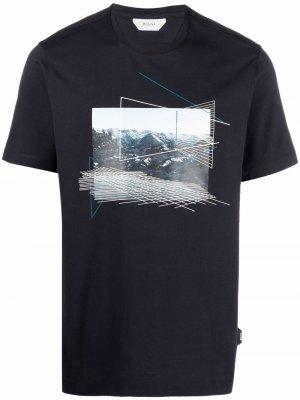 Graphic-print cotton T-shirt Z Zegna. Цвет: синий